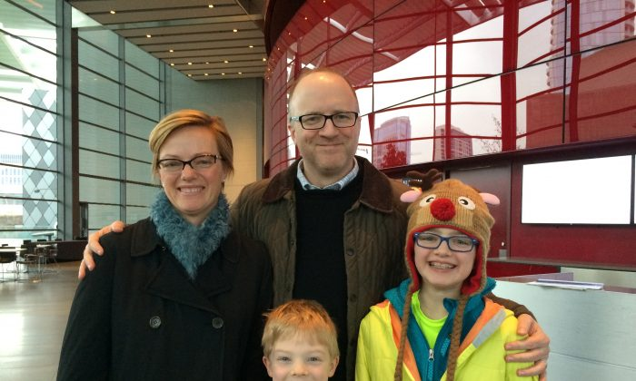 Jeff Doherty, his wife Marieke Doherty, and their children Mathilde? and Hugo, enjoyed Shen Yun at the Winspear Opera House, Jan. 11, 2015. (June Fakkert/Epoch Times)