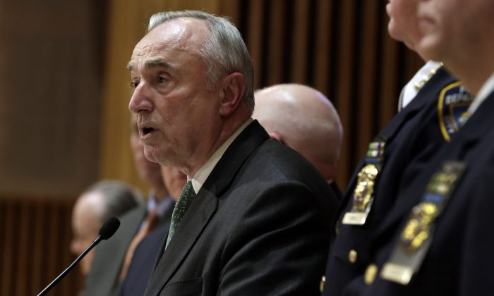 New York City Police Commissioner William Bratton during a news conference at police headquarters in New York on Monday, Jan. 12, 2015. There are signs that disgruntled officers have started making more low-level arrests, New York Police Department officials said Monday. (AP Photo/Richard Drew)