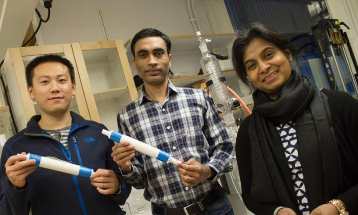 Aji Mathew assistant professor at Luleå University of Technology with her graduate students Peng Liu and Zoheb Karim with prototypes of nano-filters. (Luleå University of Technology)