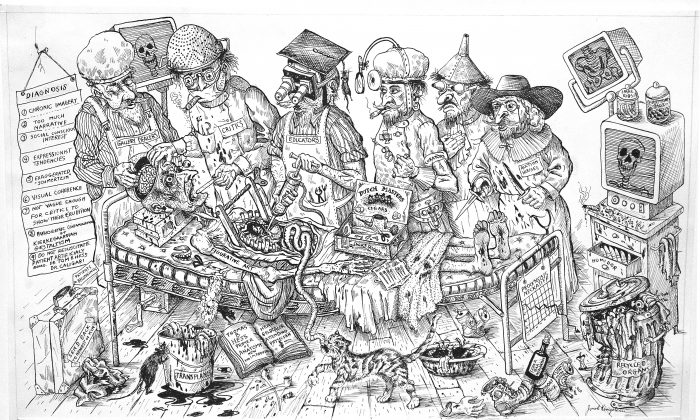 """""""The Anatomy Lesson of Professor Tulp Recycled or The Quacks Operate on 20th Century Art,"""" 1997, by Jonah Kinigstein. Pen and ink on bristol board. (Courtesy of Jonah Kinigstein)"""
