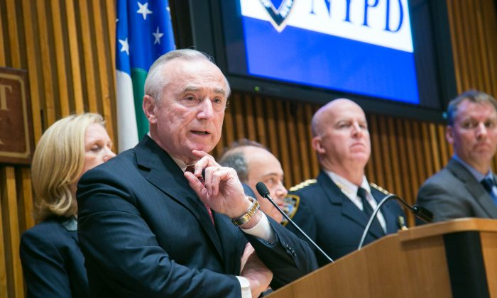 Police Commissioner Bill Bratton at a press conference at NYPD headquarters in Manhattan on Dec. 18, 2014. (Benjamin Chasteen/Epoch Times)