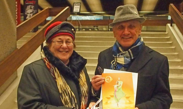 Former CBC Radio-Canada journalist Benoit Duguay and his wife, education professor Rose-Marie Duguay, drove eight hours from Moncton to Montreal to see Shen Yun Performing Arts at the Grand Théâtre de Québec in Quebec City on Jan. 13, 2015. (Nathalie Dieul/Epoch Times)