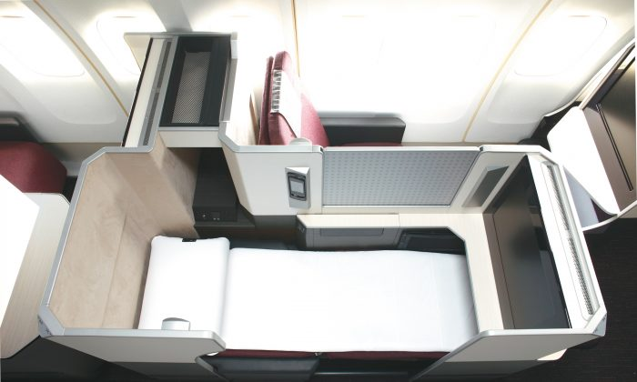 The JAL Sky Suite seat in JAL Business Class offers a fully flat seat in a private space. Amenities include a 23-inch personal TV and an airweave S-line mattress and pillow. (Japan Airlines)