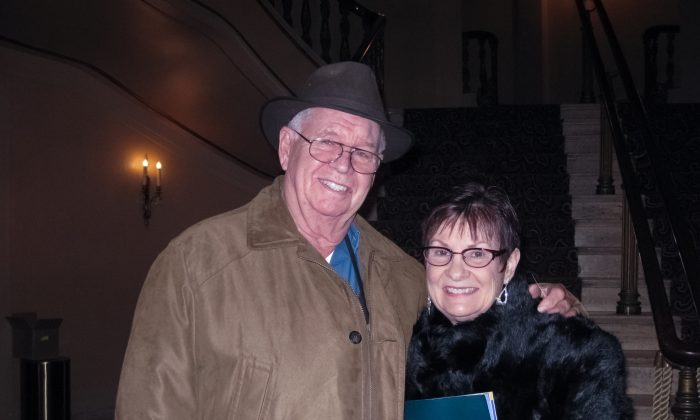Mr. and Mrs. Petersen after enjoying Shen Yun Performing Arts at Omaha's Orpheum Theater, on Jan. 13, 2015. (Cat Rooney/Epoch Times)