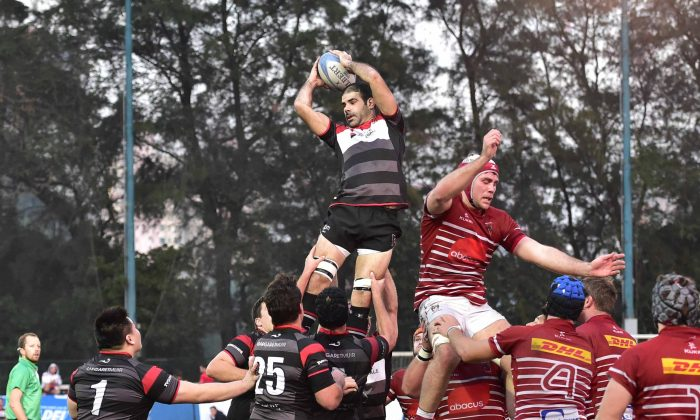 Frenchman Thomas Lamboley claims the ball for Societe Generale Valley in this line out against Abacus Kowloon in the Premiership match at King's Park on Saturday Jan 10, 2015. Lamboley's return to Valley will strengthen the side in the final run-in matches in the HKRFU Premiership. (Bill Cox/Epoch Times)