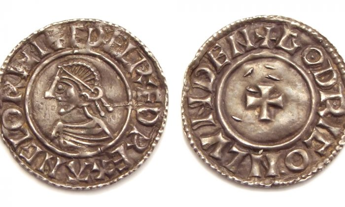 Small cross type penny with portrait of King Ethelred, similar to the ones recently discovered near Lenborough, England. (Wikimedia Commons)