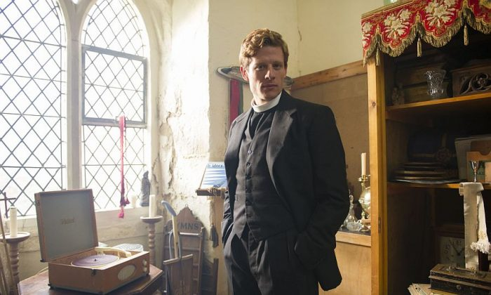 "James Norton as Rev. Sidney Chambers, who gets deep into a world of murder and intrigue in the PBS series ""Grantchester."" (PBS)"