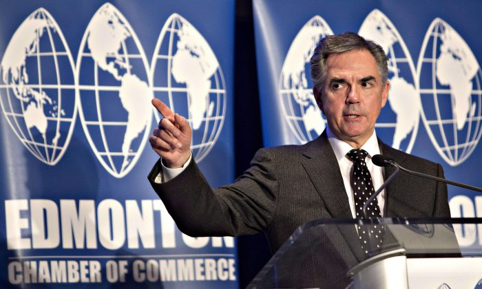 Alberta Premier Jim Prentice gives a state-of-the-province address in Edmonton on Dec. 9, 2014. Prentice says a provincial sales tax is up for discussion as low oil prices continue to bleed billions of dollars from the treasury. (The Canadian Press/Jason Franson)