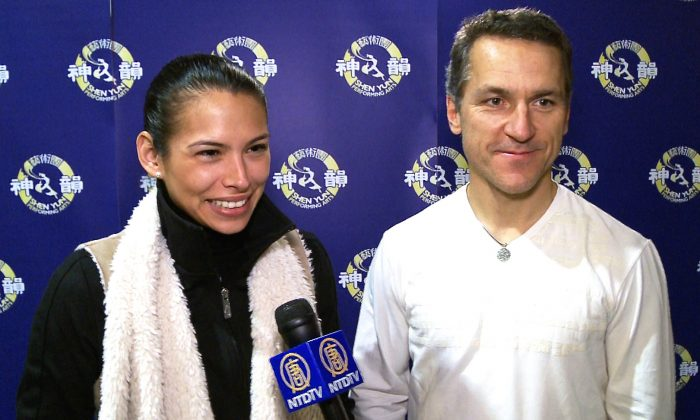 Elvis Stojko and his wife, Gladys Orozco, attended the opening-night show of Shen Yun Performing Arts at the Living Arts Centre in Mississauga on Jan. 16, 2015, and had warm praise for the performers. (NTD Television)