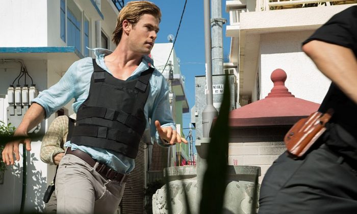 "Chris Hemsworth stars as furloughed convict Nicholas Hathaway, who is tasked with tracking a cybercriminal in ""Blackhat."" (Frank Connor/Legendary Pictures and Universal Pictures)"