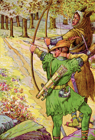 """Robin Hood with Sir Guy """"Bold Robin Hood and His Outlaw Band: Their Famous Exploits in Sherwood Forest"""", Louis Rhead. (Wikimedia Commons)"""