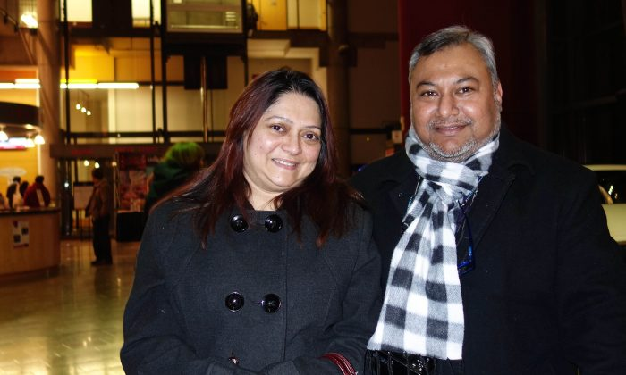 Ejaz Chowdhury and his wife, Marina Karim, enjoyed Shen Yun Performing Arts at the Living Arts Centre in Mississauga on Friday night, Jan. 16, 2015. (Matthew Little/Epoch Times)
