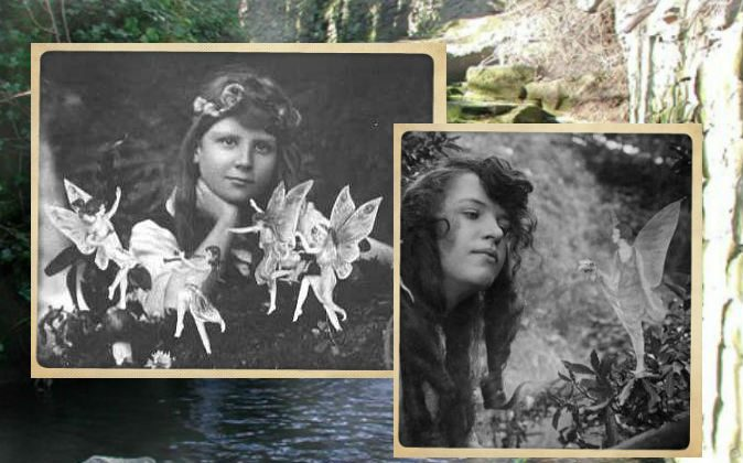 Frances Griffiths (L) and Elsie Wright (R) posing in 1917 with what they maintained for decades were real fairies. (Public Domain) Background: The beck in Cottingley, UK, where the girls took the photos. (Paul Glazzard/Wikimedia Commons)