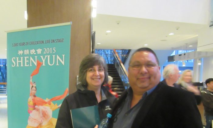 Huu-ay-aht First Nations council member Tom Happynook and his wife Kathy attend Shen Yun at the Queen Elizabeth Theatre on Jan. 17, 2015. (Ryan Moffatt/Epoch Times)
