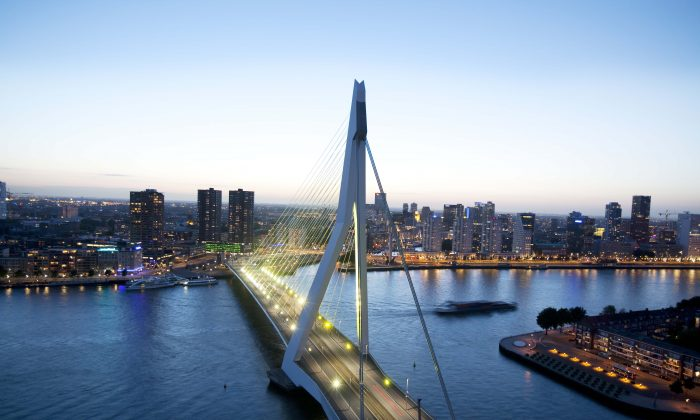 The Erasmus Bridge in Rotterdam, barely a decade old, is already the city's iconic image. (Marc Heeman)