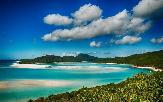 Whitehaven beach lagoon at queensland National Park  via Shutterstock*