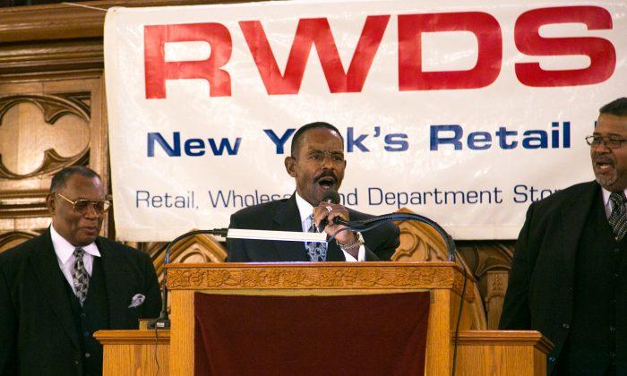 Reverend Ralph Abernathy III speaks at the Convent Avenue Baptist Church, Harlem, Manhattan on Jan. 19. 2015. (Shannon Liao/Epoch Times)
