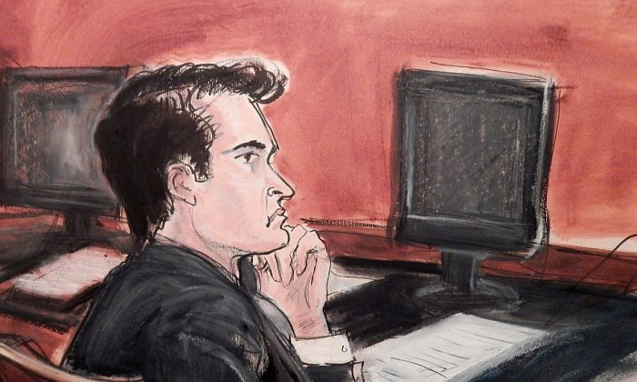 Defendant Ross William Ulbricht, described as the kingpin of an underground online market, listens to proceedings in New York on Jan. 13, in a courtroom drawing. (AP Photo/Elizabeth Wlliams)