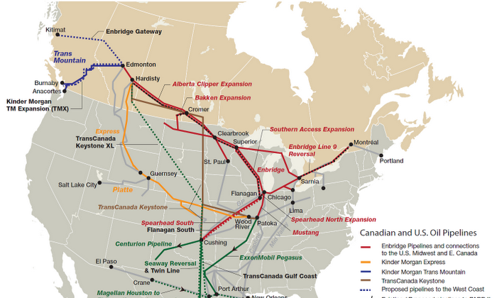 A map shows the current and proposed Canadian and U.S. pipelines (response.restoration.noaa.gov)