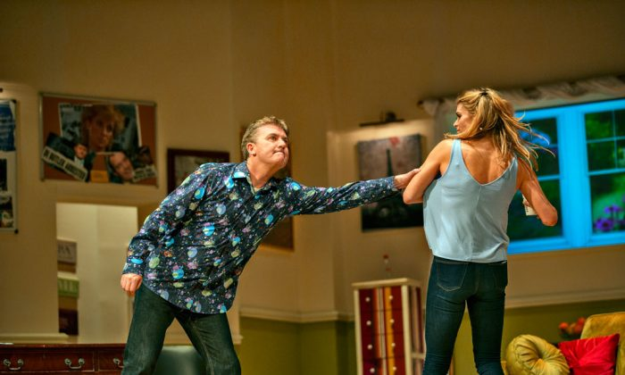 Playwright and actor Jon Conway with Kim Tiddy in 'Truth, Lies, Diana.' (Jon Conway Productions)
