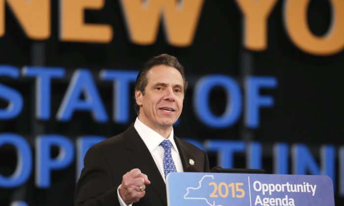 New York Gov. Andrew Cuomo delivers his State of the State address and executive budget proposal at the Empire State Plaza Convention Center on Wednesday, Jan. 21, 2015, in Albany, N.Y. (Mike Groll/AP)