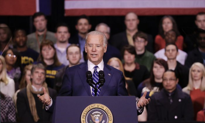 Vice President Joe Biden speaks at Pellissippi State Community College, in Knoxville, Tenn, Jan. 9, 2015. (AP Photo/Mark Humphrey)