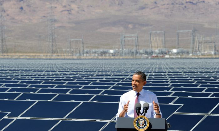 U.S. President Barack Obama speaks at Sempra U.S. Gas & Power's Copper Mountain Solar 1 facility, the largest photovoltaic solar plant in the United States on March 21, 2012 in Boulder City, Nevada. (Photo by Ethan Miller/Getty Images)