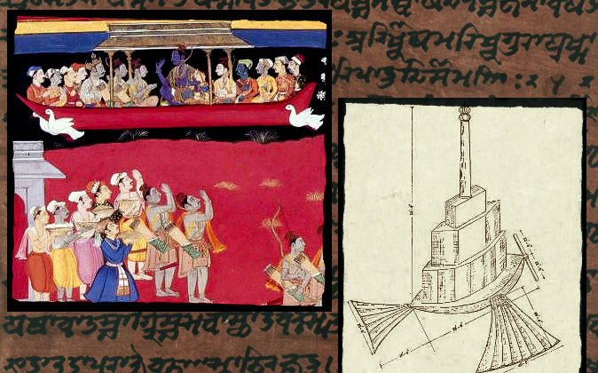 Left: Rama welcomed back to Ayodhya, including the celestial flying machine, the Pushpak Vimana. Right: An illustration of the Shakuna Vimana that is supposed to fly like a bird with hinged wings and tail, drawn in Bangalore, India, in 1923. Background: A file photo of Sanskrit text.  (Wikimedia Commons)