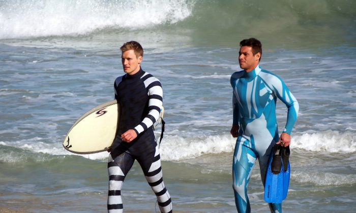 Shark deterring wetsuits, designed to camouflage or repel. (Shark Attack Mitigation Systems (SAM))