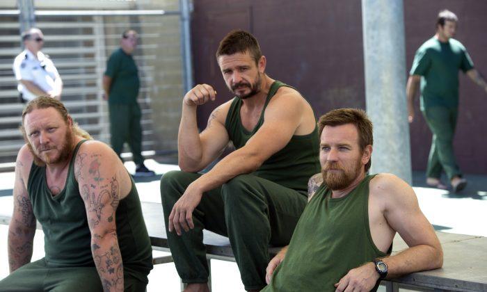 "Eddie Baroo, Matt Nable, and Ewan McGregor as jailbirds in ""Son of a Gun."" (A24/SOAG Holdings Pty Ltd)"
