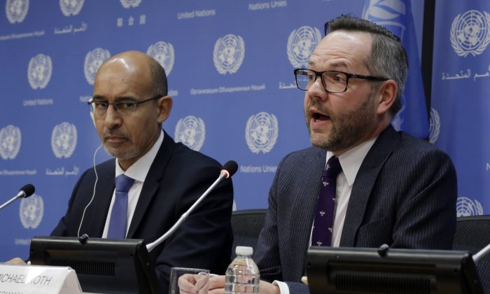 France's State Secretary for European Affairs Harlem Desir (L) and Germany's Foreign Minister Michael Roth hold a news conference after they addressed the United Nations General Assembly,  Thursday, Jan. 22, 2015. The UN General Assembly is holding its first-ever meeting devoted to anti-Semitism in response to a global increase in violence against Jews, a meeting scheduled even before the recent attack on a kosher supermarket in Paris. (AP Photo/Richard Drew)