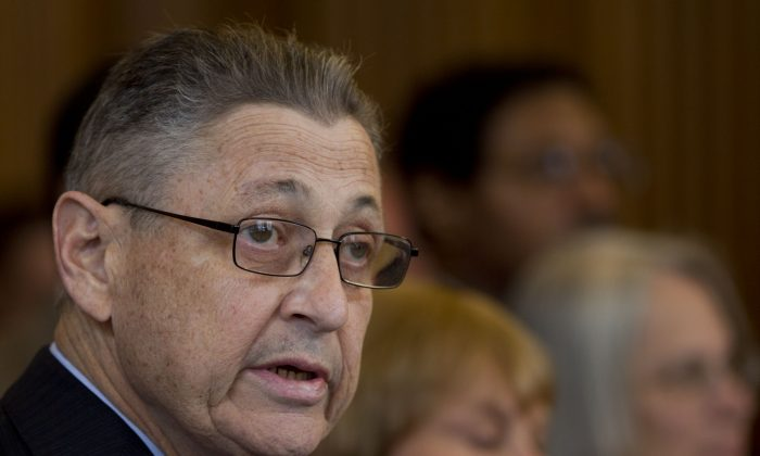 Assembly Speaker Sheldon Silver (D-Manhattan) speaks during an affordable housing news conference at the Capitol in Albany, N.Y., on April 18, 2012. Silver, who has been one of the most powerful men in Albany for more than two decades, was arrested Thursday, Jan. 22, 2015, on public corruption charges. (AP Photo/Mike Groll)