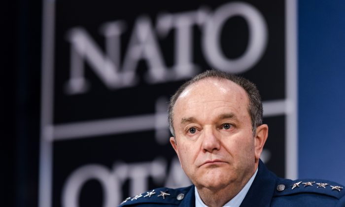 Supreme Allied Commander Europe (SACEUR) General Philip M. Breedlove attends a media conference at NATO headquarters in Brussels on Thursday, Jan. 22, 2015. (AP Photo/Geert Vanden Wijngaert)