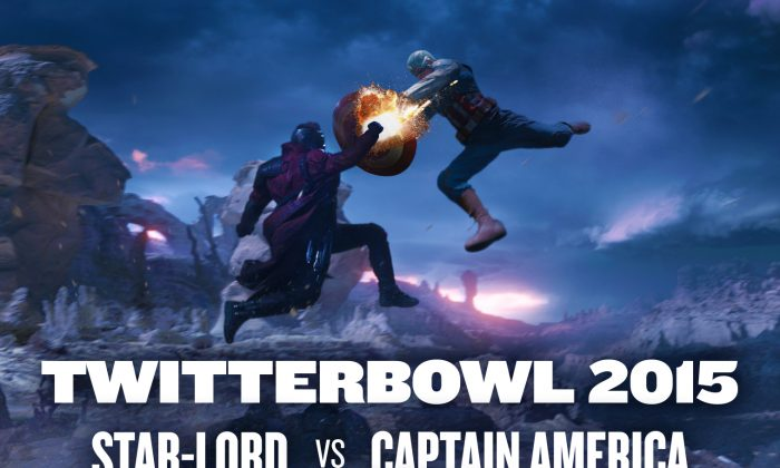 """Captain America's Chris Evans has challenged """"Galaxy Guardian,"""" Chris Pratt, to an epic good samaritan SuperBowl bet. Graphic designed by Rob Counts. Photos courtesy of Walt Disney Studios Motion Pictures USA."""