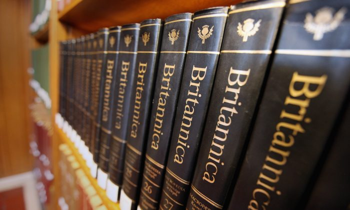 Encyclopedia Britannica editions at the New York Public Library on March 14, 2012. (Mario Tama/Getty Images)