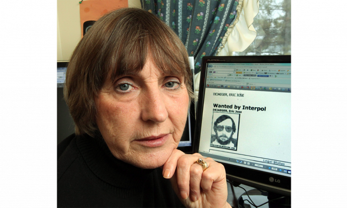 Sylvia McEachen is shown at her home in Fitzroy Harbour, Ont., with an image of Eric Dejaeger on her computer behind her, in March 2011. McEachen was instrumental in having Dejaeger returned to Canada from his native Belgium to face sex-abuse charges. The former Oblate missionary is facing sentencing on 32 counts of sexual abuse committed when he was stationed in Igloolik between 1978 and 1982. (The Canadian Press/Fred Chartrand)