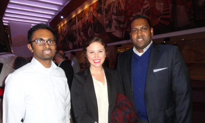 Rogers Communications team members Tony Phillip, Kayleigh Hennessey, and Tony Phillip enjoyed Shen Yun Performing Arts at the Sony Centre in Toronto on Jan. 22, 2015. (Madalina Hubert/Epoch Times)
