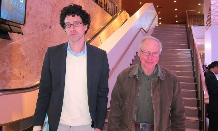 Matthew Crippen and his father, Bob Crippen, attend Shen Yun Performing Arts at the Sony Centre in Toronto on Jan. 22, 2015. (Qunicy Yu/Epoch Times)
