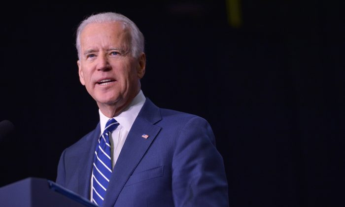 Then-Vice President Joe Biden speaks as he introduces then-President Barack Obama at Pellissippi State Community College in Knoxville, Tennessee, on Jan. 9, 2015. (Mandel Ngan/AFP/Getty Images)