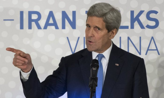 U.S. Secretary of State John Kerry delivers a statement in Vienna on the status of negotiations over Iran's nuclear program before he leaves Vienna on Nov. 24, 2014. (Joe Klamar/AFP/Getty Images)