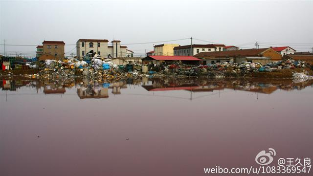 A pond has a pink color because of pollution by a nearby plastic waste factory in northern China's Hebei Province, on Oct. 22, 2014. (Weibo.com/u/1083369547)
