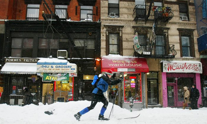A man cross-country skis up Second Ave. February 17, 2003 in New York City. The worst blizzard in the mid-Atlantic region in seven years is expected to deliver as much as two feet of snow the city. (Mario Tama/Getty Images)