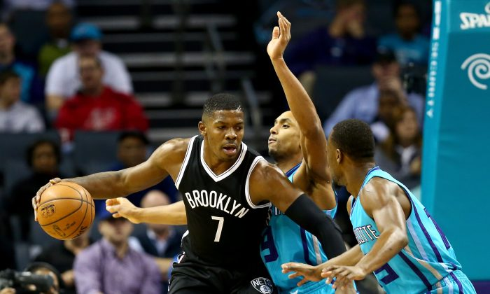 Joe Johnson #7 of the Brooklyn Nets during their game at Time Warner Cable Arena on December 13, 2014 in Charlotte, North Carolina. (Photo by Streeter Lecka/Getty Images)