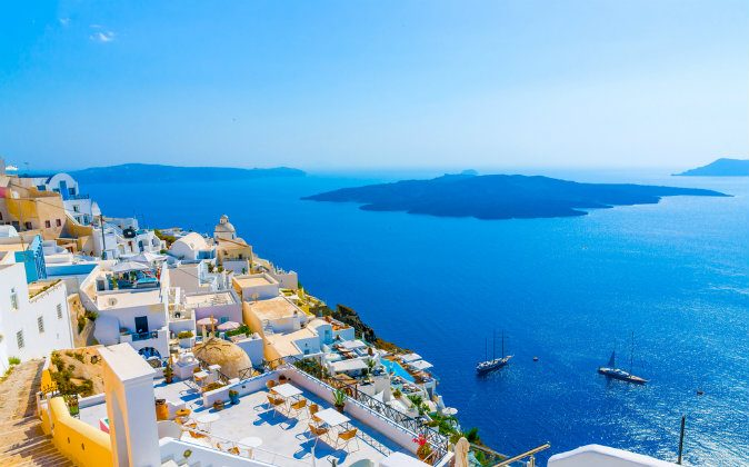 View to the sea and Volcano from Fira via Shutterstock*