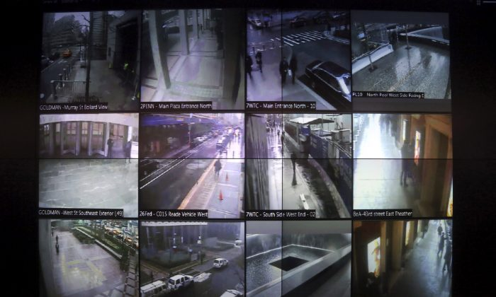 Part of a wall of surveillance camera video in New York. When news came of a terror attack in Paris, the New York Police Department went on high alert: Officials mobilized heavily armed teams to guard sensitive spots around the city. Detectives combed intelligence for any sign of a threat or copycat crime. And officers were sent overseas to bring back lessons from the tragedy. (AP Photo/Mary Altaffer)