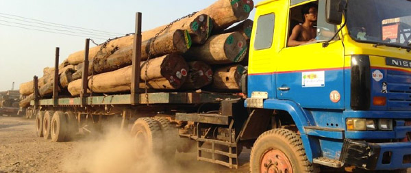 Truck carrying raw logs in Myanmar. Photo courtesy of EIA