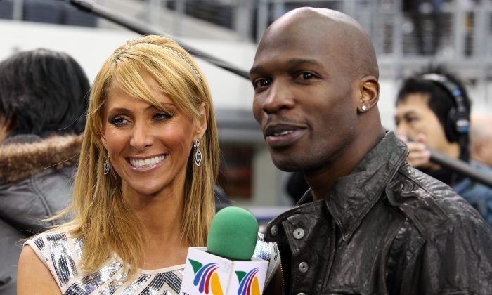 ARLINGTON, TX - FEBRUARY 01:  NFL player Chad Johnson is interviewed by TV personality Inez Sainz on the field during Super Bowl XLV Media Day ahead of Super Bowl XLV at Cowboys Stadium on February 1, 2011 in Arlington, Texas. The Pittsburgh Steelers will play the Green Bay Packers in Super Bowl XLV on February 6, 2011 at Cowboys Stadium.  (Photo by Michael Heiman/Getty Images)