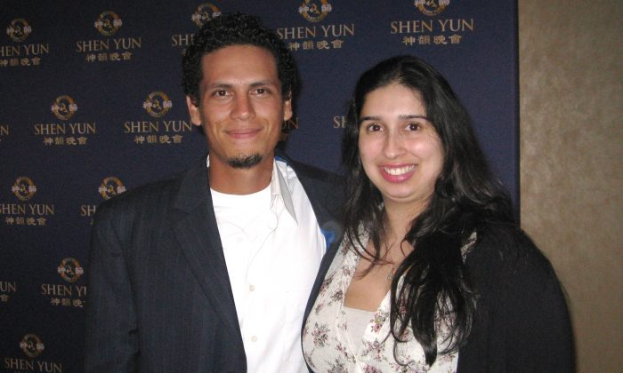 Colleen Martinez and Cesar Montoya are inspired by Shen Yun Performing Arts at the Dolby Theatre in Hollywood, Calif. on Friday, Jan. 23, 2015. (Albert Roman/Epoch Times)
