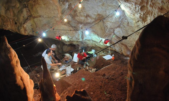 Excavation efforts at the Manot cave in northern Israel's Galilee region. (AP Photo/Manot research team)