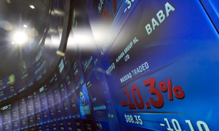 A photo showing Alibaba's stock price after its Q4 earnings. A Chinese official credits the rise of Chinese tech giants such as a Alibaba to the regime's censorship system. (AP Photo/Richard Drew)